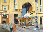 Oil painting of the Carousel in the Piazza della Repubblica, Florence