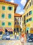 Painting of a street scene in Florence, Italy