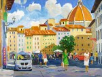 Busy St. Scene (Piazza del Mercato) and View of the Duomo, Florence, Italy