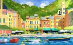 Oil painting of the Portofino Harbor, Italy