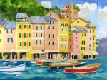 Oil painting of the Portofino Harbor, Portofino, Italy