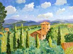 Oil painting of a tuscan Landscape, Siena, Italy