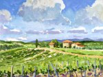 Oil painting of vineyards in Siena, Italy